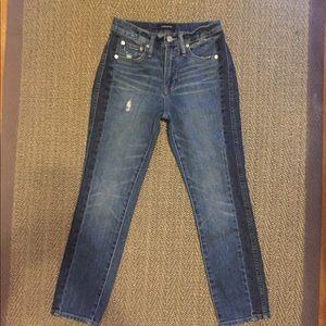 J. Crew Vintage Straight 2-tone crop jeans.